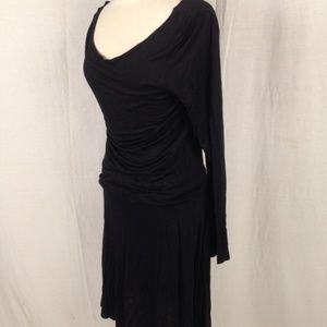 New James Perse Long Sleeve Black Dress Tencel